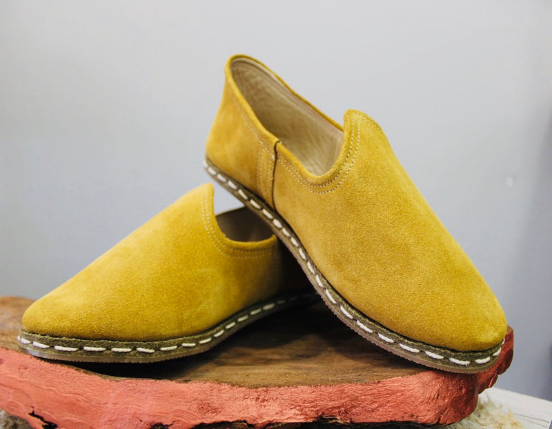 Suede Chamoix Yellow Handmade Leather Shoes - Mawlana Cashmere & Silk