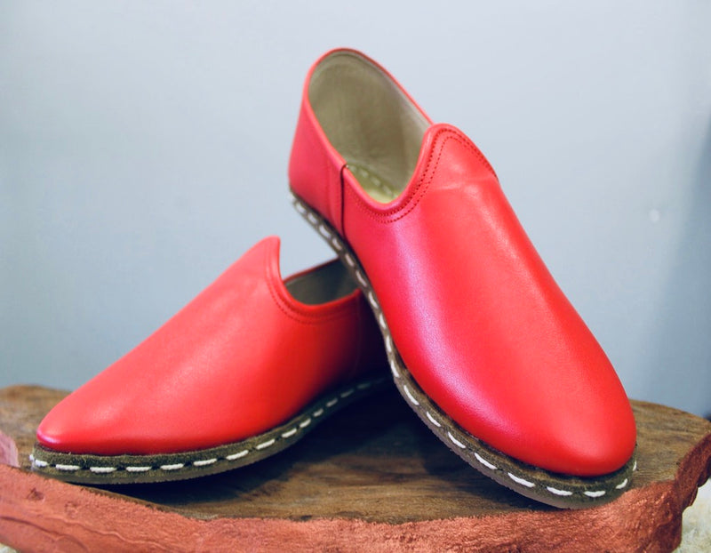 Red Handmade Leather Shoes - Mawlana Cashmere & Silk