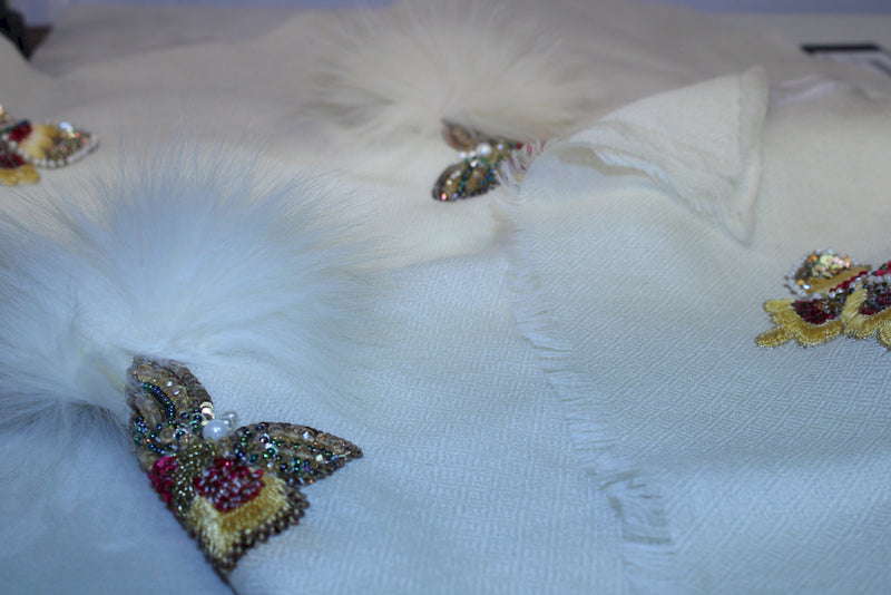 Butterfly with Fur - Mawlana Cashmere & Silk