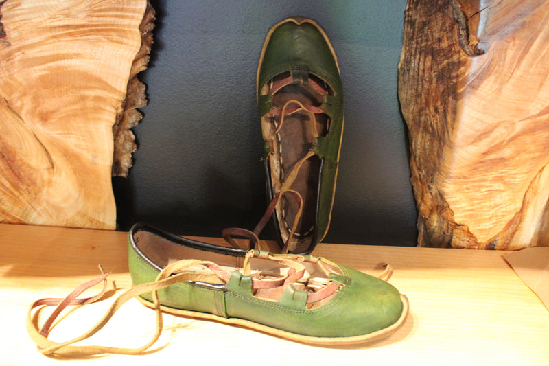 Green Olive Handmade Leather Sandals Vegetable Tan - Mawlana Cashmere & Silk