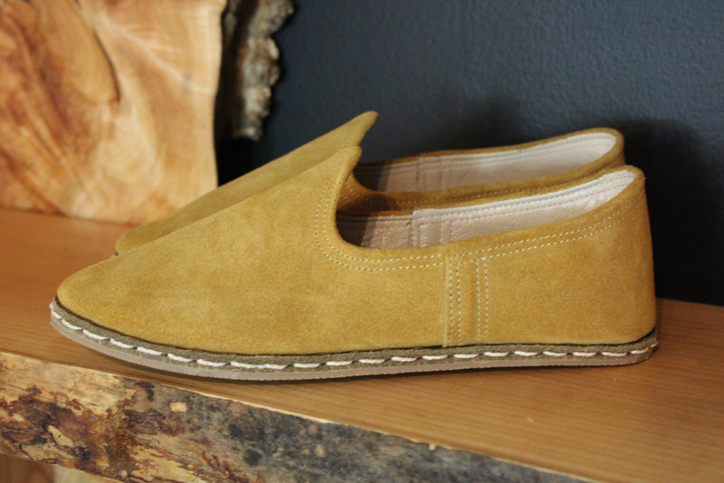 Suede Chamoix Honey Handmade Leather Shoes - Mawlana Cashmere & Silk