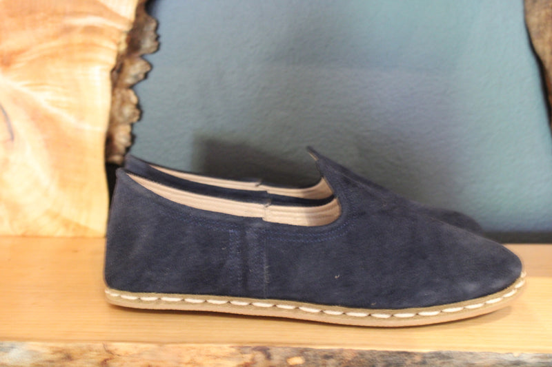 Navy Suede Handmade Leather Shoes - Mawlana Cashmere & Silk