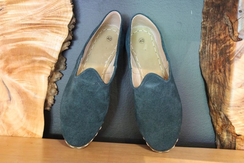 Teal Suede Handmade Leather Shoes - Mawlana Cashmere & Silk