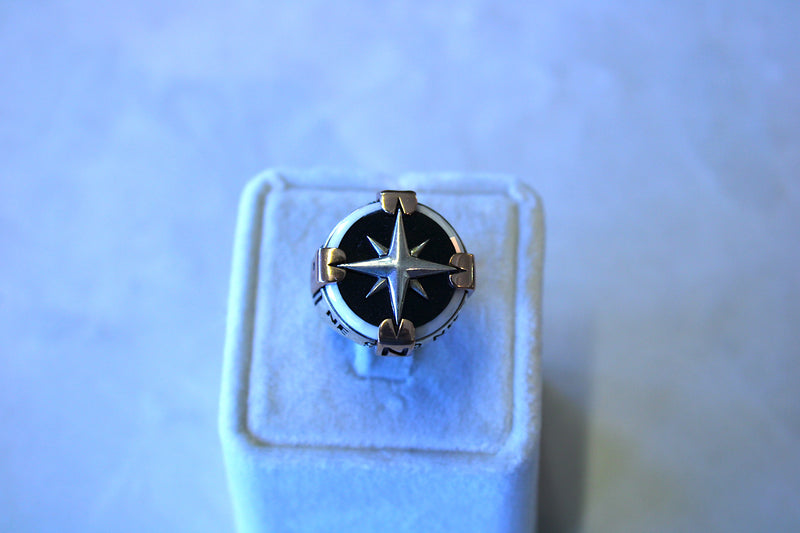 Men's Black Compass Silver Ring 10 - Mawlana Cashmere & Silk