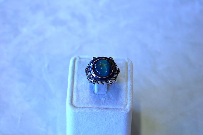 Men's Blue Moon Stone Silver Ring - Mawlana Cashmere & Silk
