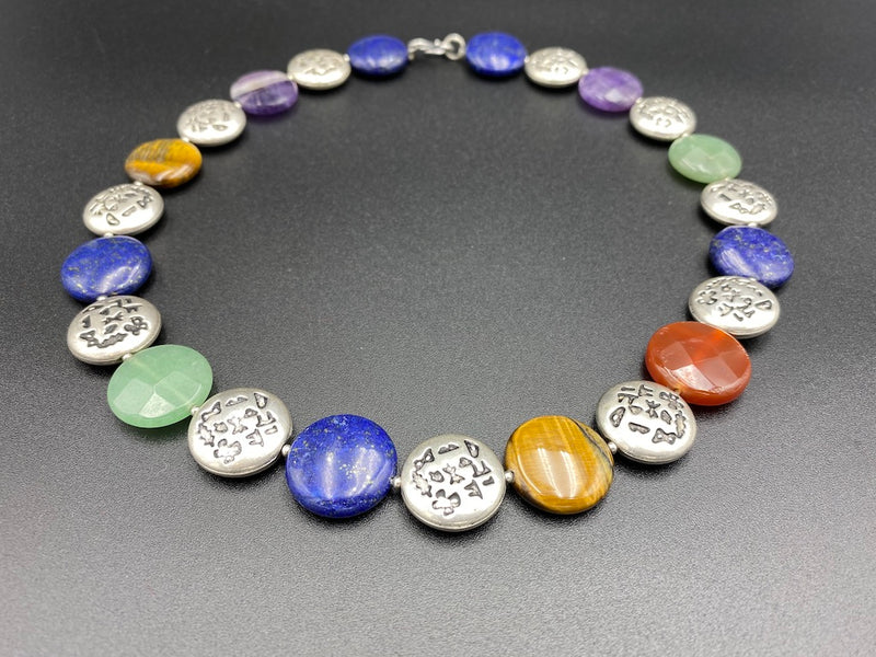 Handmade Aleppo Antique Necklaces - Flat Alphabet Jade Lapis Agate Tiger Eye Amethyst