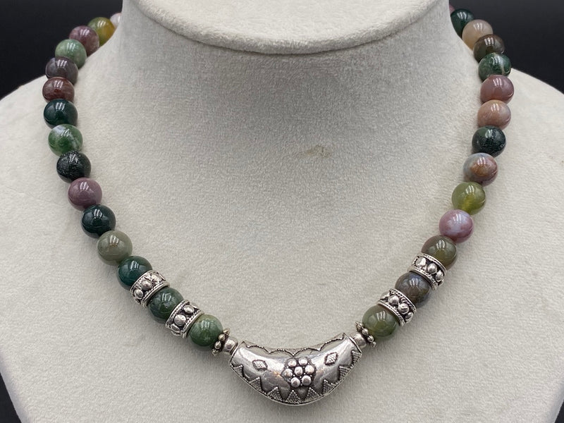 Handmade Aleppo Antique Necklaces - Tourmaline Beads Moon Necklace