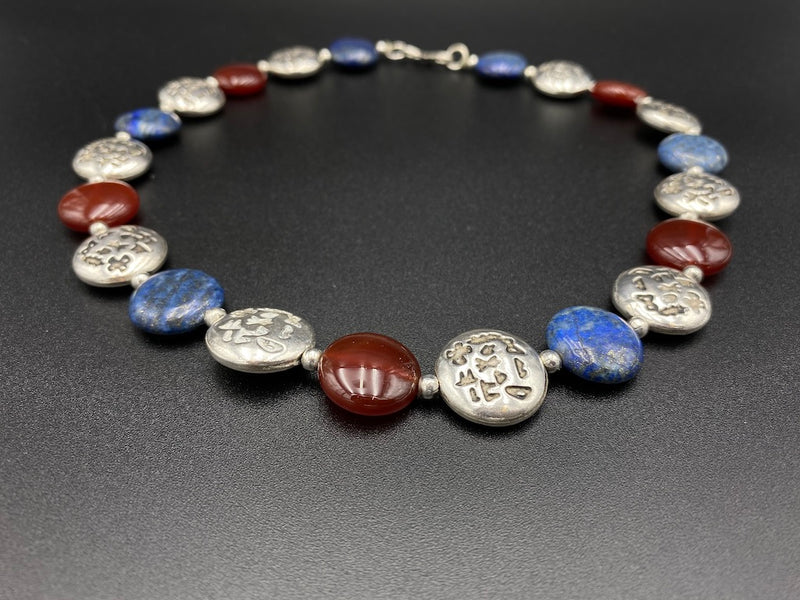 Handmade Aleppo Antique Necklaces -Flat Phoneician Alphabet with Lapis Azul & Agat