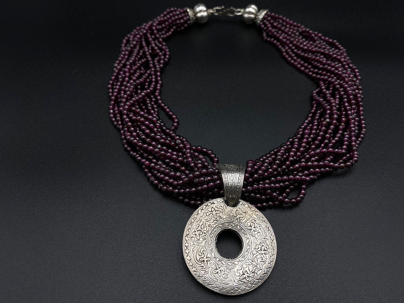 Handmade Aleppo Antique Necklaces - Purple Tourmaline Detailed Necklace