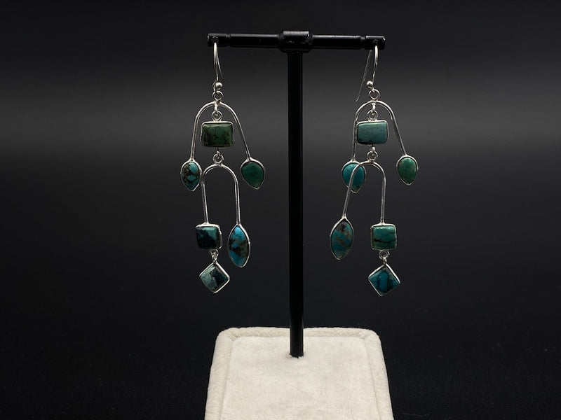 Handmade Aleppo Antique Earrings  - Handcrafted Tourmalines & Turquoise