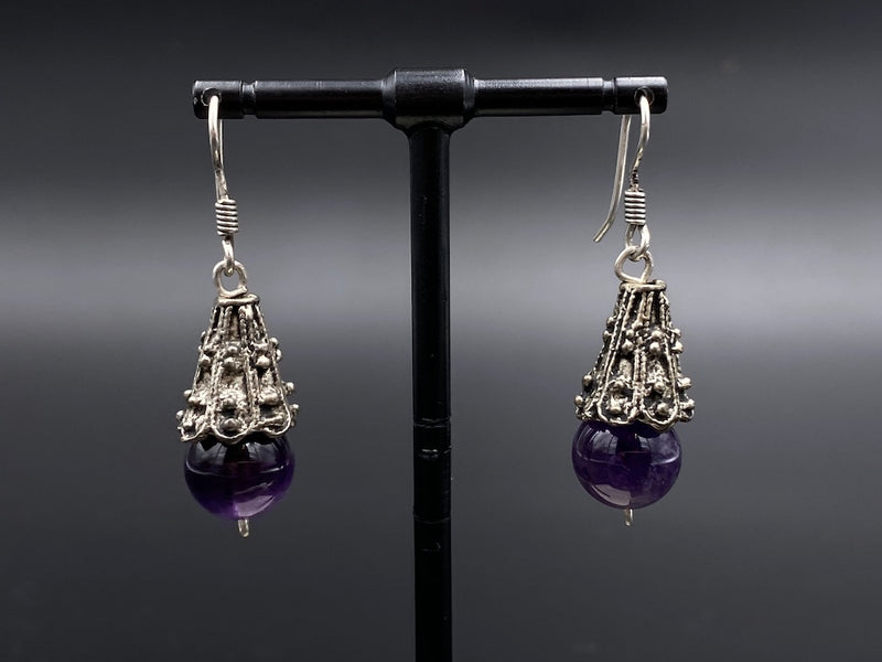 Handmade Aleppo Antique Earrings  - Heavy Earrings with Crystals - Cone Hangers