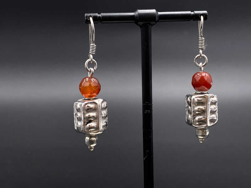 Handmade Aleppo Antique Earrings  - Heavy Earrings with Crystals - Arabic Lamp