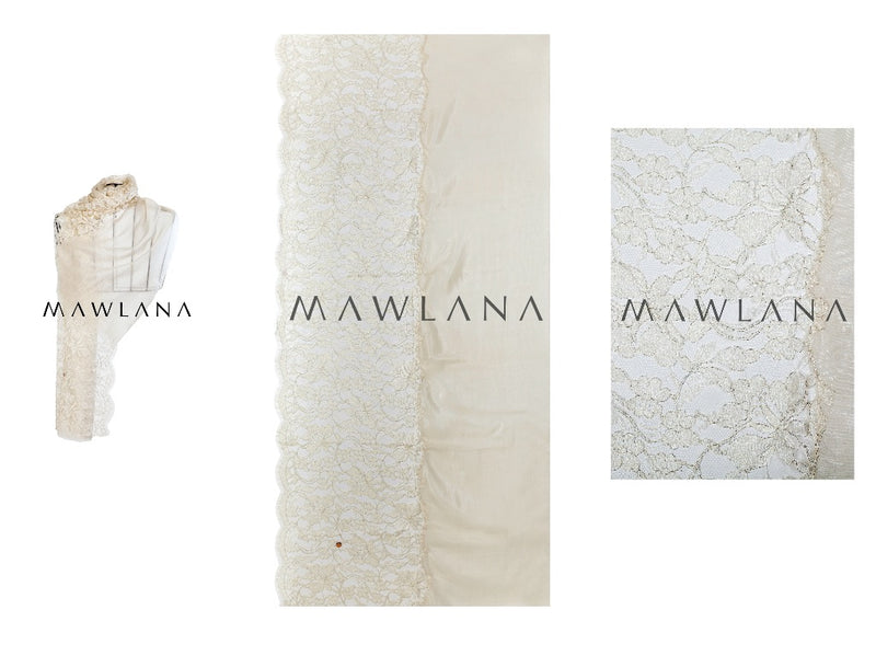 Intimate Silk with Lace Stole - Mawlana Cashmere & Silk