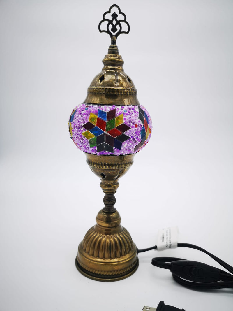 Mosaic Turkish Vintage Glass Lamp with Copper Table Top Small Lamp - Small Size