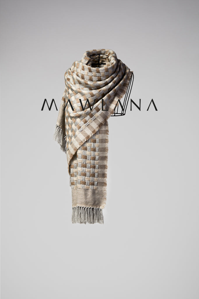 Checkers Wool Stole - Mawlana Cashmere & Silk