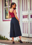 Button Closure Back And Front Pleat Detailed Capri Pants