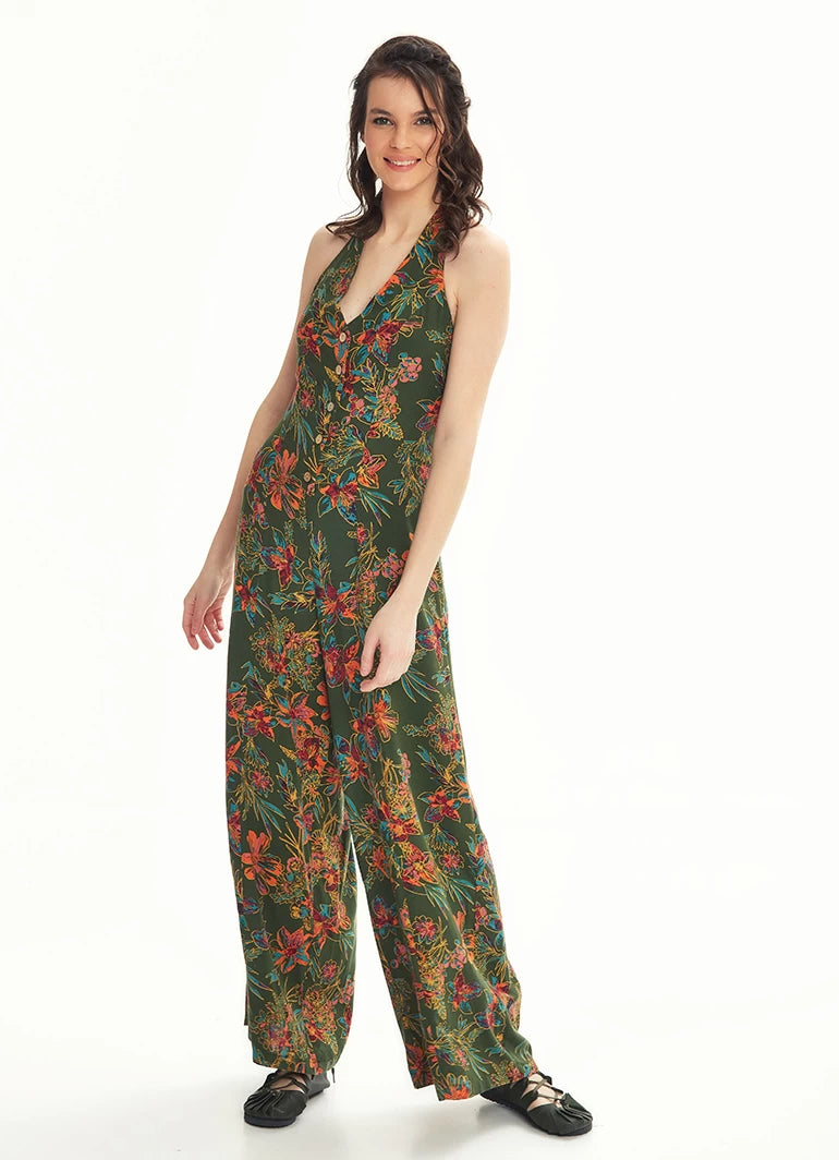 Wide Leg Stylish Hanging Jumpsuit - Green Lily Purple Leaves