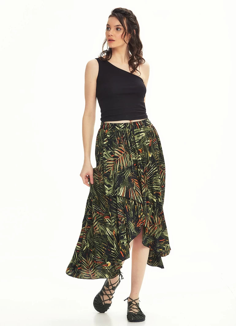Ethnic Patterned Bohemian Khaki Authentic Skirt Palm Leaf - Mawlana Cashmere & Silk