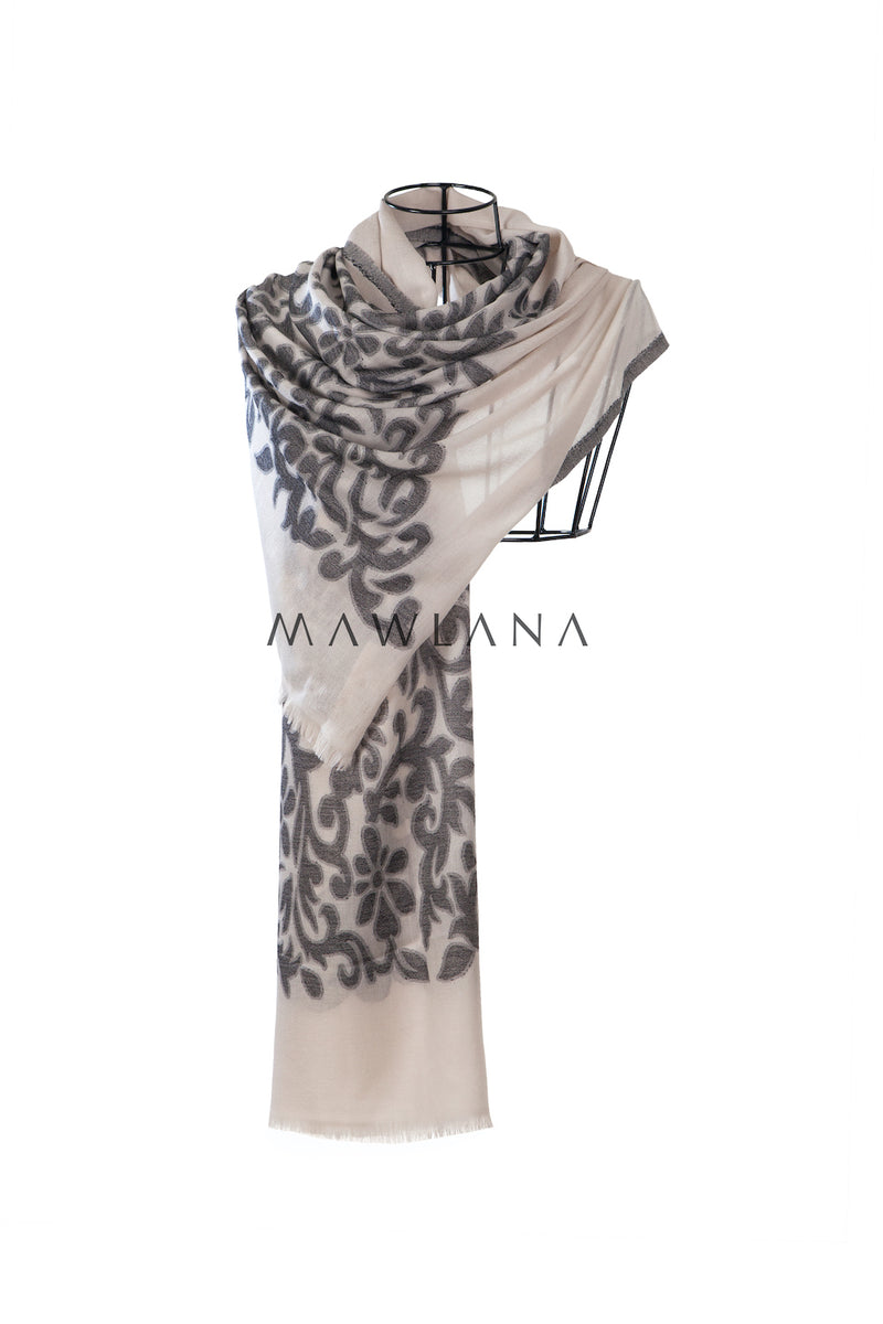 Floral Vines Light Modal Shawl - Mawlana Cashmere & Silk