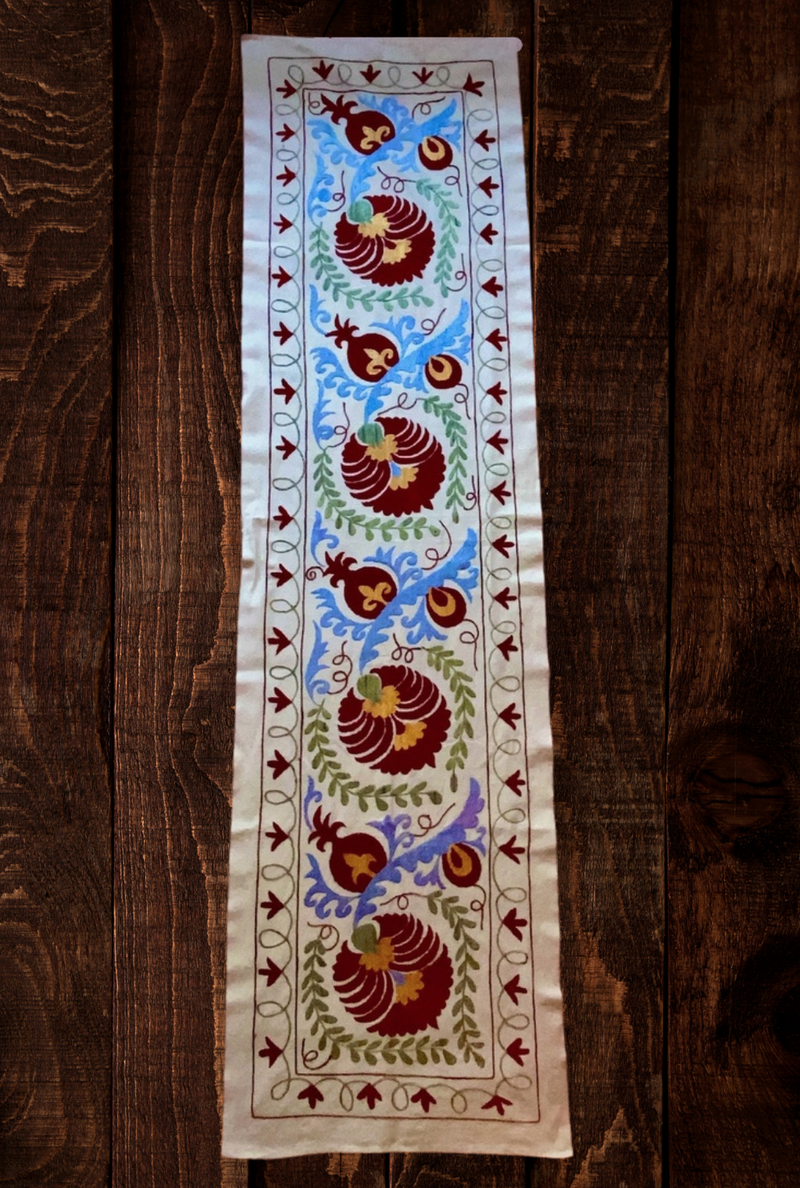 Suzani Cotton on Silk Small Table Runners