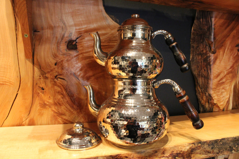 Vintage Turkish Tea Pots Hand-Hammered Simple White Copper - Mawlana Cashmere & Silk