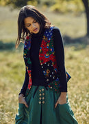 Floral Printed Buttoned Gypsy Style Patchwork Vest - Mawlana Cashmere & Silk