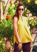 Sleeveless Bohemian Chic Yellow Blouse - Mawlana Cashmere & Silk