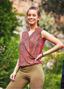 Ethnic Patterned Brown Double Breasted Blouse Top - Mawlana Cashmere & Silk