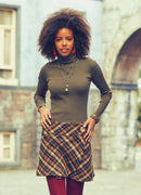 Oversized Button Closure Detail Wrap Front Plaid Mini Skirt