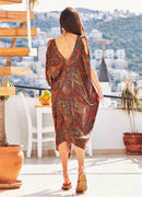 Paisley Print Cold Shoulder Dress - Mawlana Cashmere & Silk
