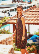 Boho Ribbon Detailed Collar Printed Dress - Mawlana Cashmere & Silk