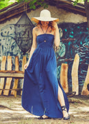 Indigo Shirred Summer Dress
