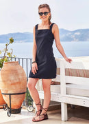 Square Neck Front Pocket Strappy Black Dress - Mawlana Cashmere & Silk