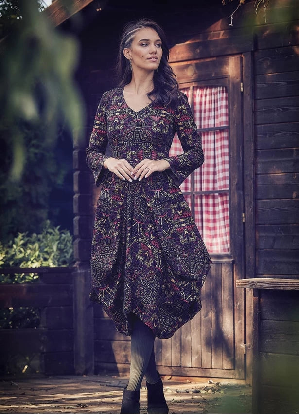 Ethnic Print Asymmetrical Hem Long Sleeve Dress - Mawlana Cashmere & Silk