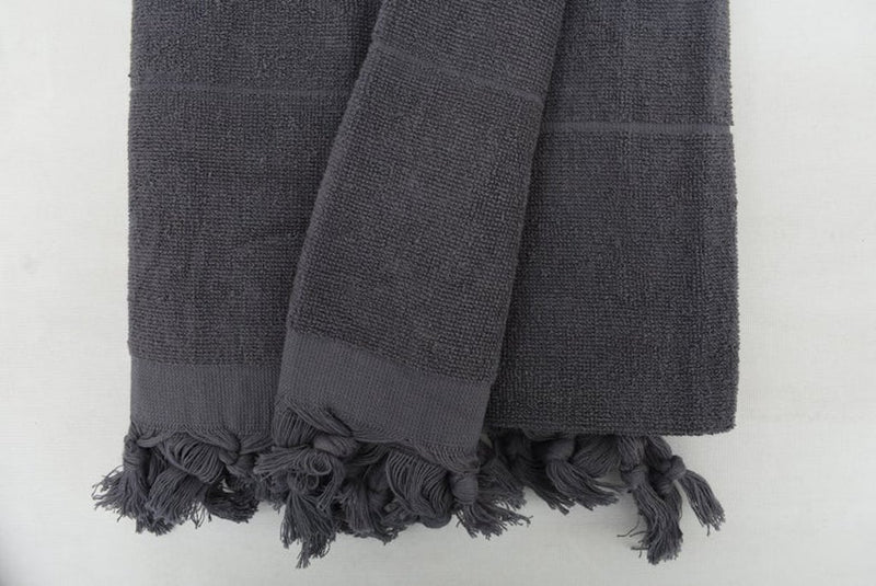Handmade Gray Stonewashed Terry Towel Organic Turkish Towel - 180 CM X 90 CM