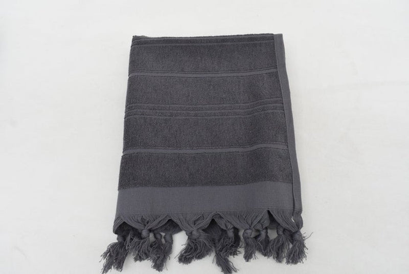 Handmade Gray Stonewash Terry Hand Face Towel Organic Turkish Towel - 100 CM X  50 CM