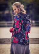 Patchwork Zip Closure Lined Hooded Jacket - Mawlana Cashmere & Silk