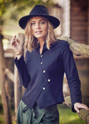 Zaggies - Simple Button Down Full Sleeve Black Vest Shirt - Mawlana Cashmere & Silk