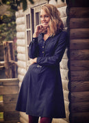 Long Sleeve Knee Length Gypsy Style Black Shirt Dress