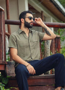 Casual Half Sleeve Pocket Detail Button Down Cotton Linen Mens Shirt - Mawlana Cashmere & Silk