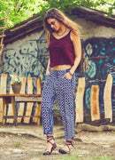 Bohemian Waist Elastic Women's Capri Pants | Cream Blue Tribal Khaki Green Black