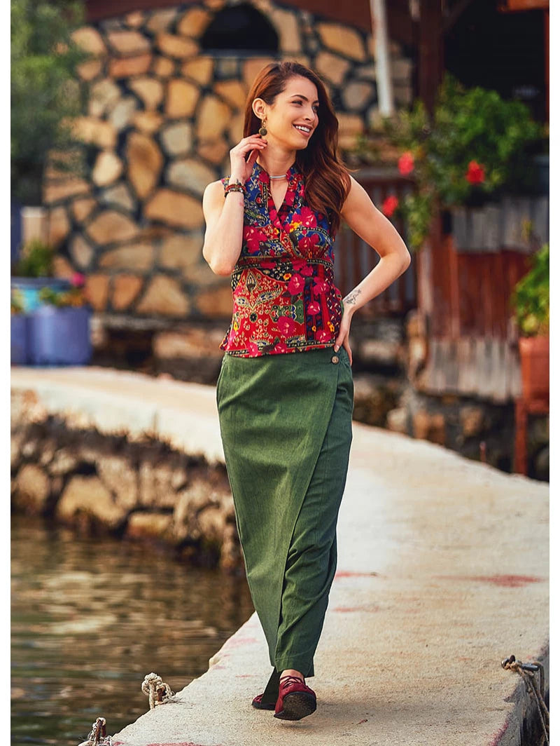 Elastic Waistband Button Detailed Green Culottes