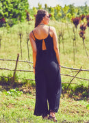 Strappy Boho Jumpsuit Open Back | Black - Gray Tribal |
