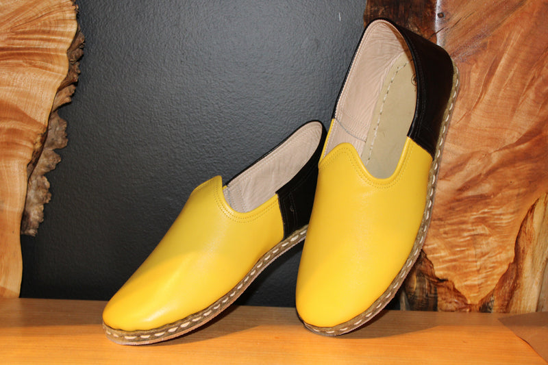Yellow Black Handmade Leather Shoes Limited Sizes - Mawlana Cashmere & Silk