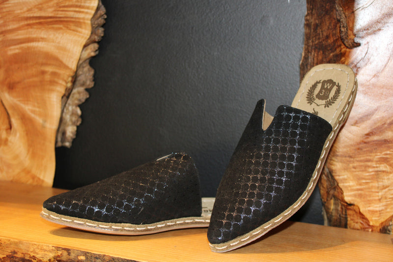 Leather Slippers Handcrafted Ottoman Style - Mawlana Cashmere & Silk