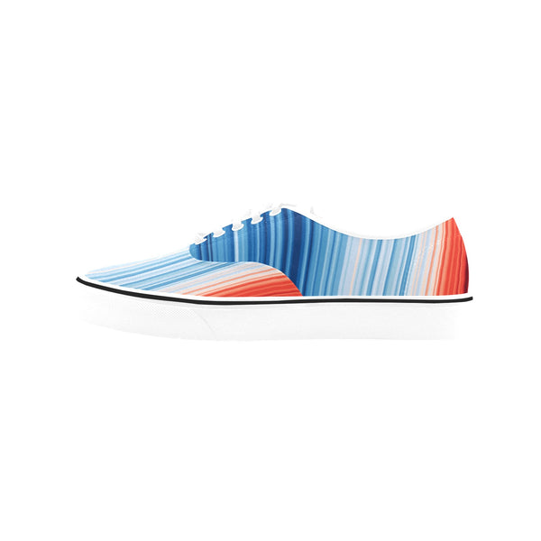 Global Warming Stripes Women's Canvas Low-top Shoes
