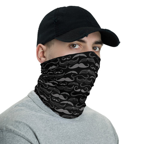 Mens Mustache Face Covering Neck Gaiter - One Size - Black