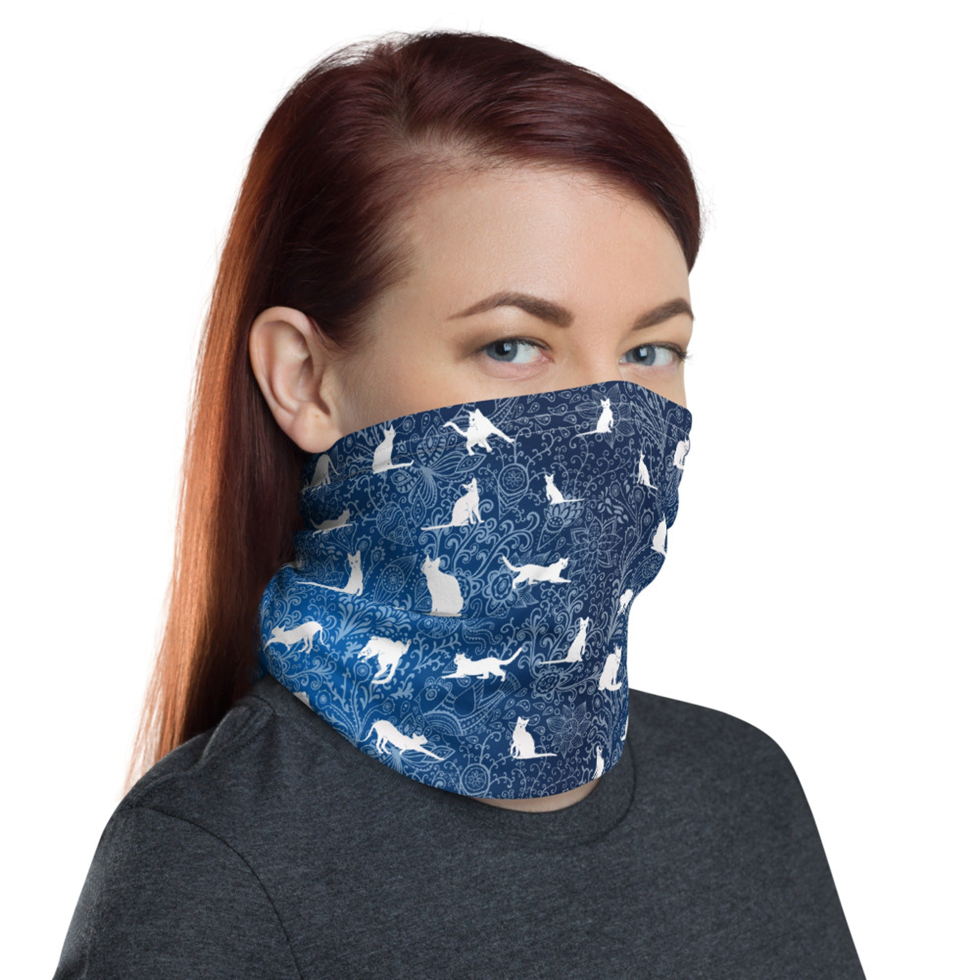 Blue Cats and Floral Doodle Stylish and Functional Neck Gaiter - One Size