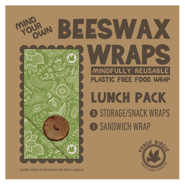 Mind Your Own Beeswax Wraps Lunch Kit - 4 Piece Set with Drying Clips