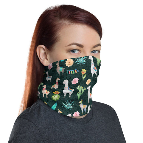 Llama Cactus and Flowers Dark Teal Stylish Doodle Neck Gaiter - One Size